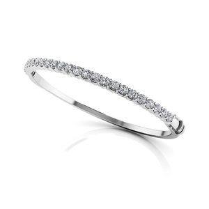 Sparkling Brilliant Diamonds Women Bangle White Go